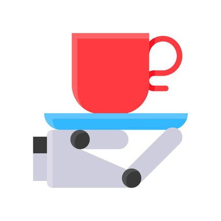 Robot hand holding coffee cup vector, Robotics related flat style icon Иллюстрация