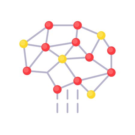Neural network vector, Artificial related flat style icon