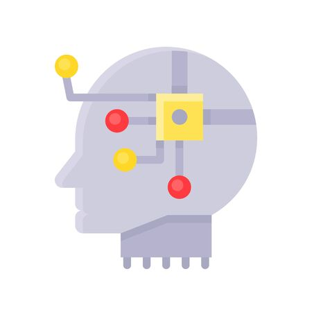 Robot head with circuit chip vector, Artificial related flat style icon