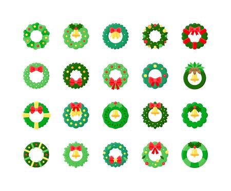 Christmas Wreath vector icon set, flat design
