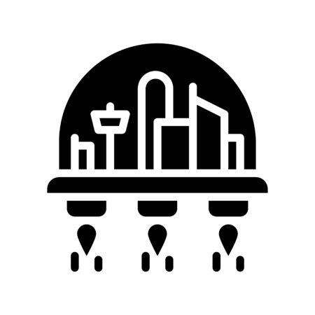 Space habitat vector illustration, Future technology solid design icon
