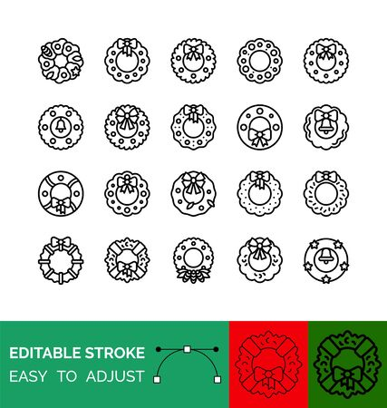 Christmas Wreath vector icon set, line design Illustration
