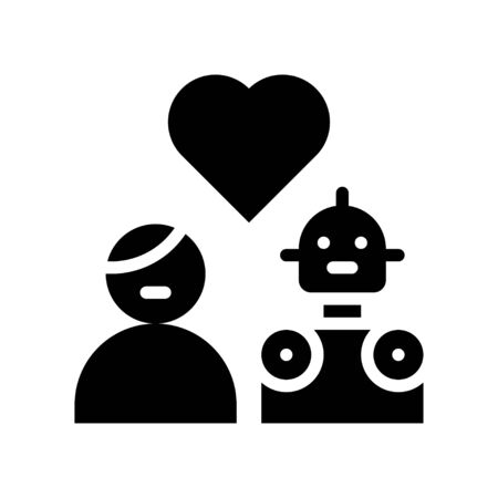 Human in love with robot vector, Robotics related solid style icon Иллюстрация