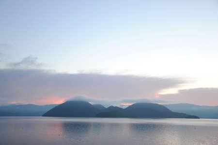 dawn of crater lake in Hokkaido Reklamní fotografie