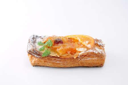 orange marmalade tart pie on white background