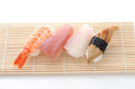 sushi set shrimp tuna yellow tail isolated on white background