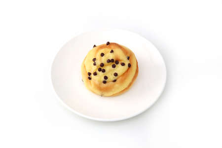 chocolate chip bread isolated on plate on white background