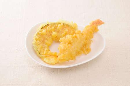 tempura of shrimp pumpkin on plate on table