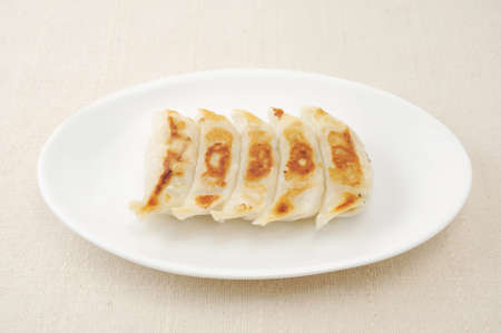Fried Dumpling Gyoza. Garnished on plate on table cloth