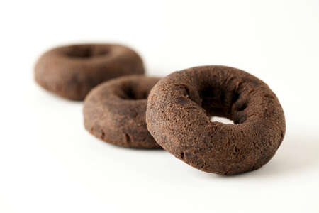 chocolate doughnuts isolated on white background