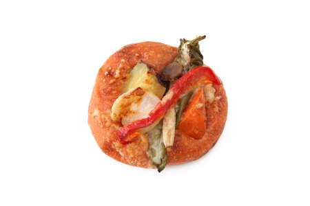 vegetables pizza bread on white background