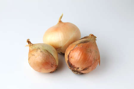 raw onions isolated on white background Banco de Imagens