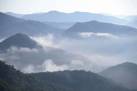 sea of clouds foggy morning mountains