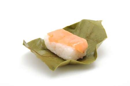 Salmon kakinoha sushi on white background Imagens - 124926400