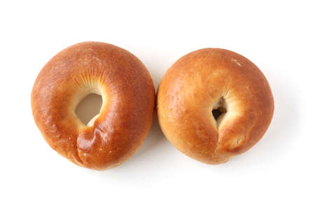 plain bagels bread on white background 写真素材