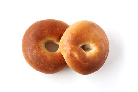 plain bagels bread on white background 스톡 콘텐츠