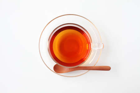 cup of hot tea isolated on white background