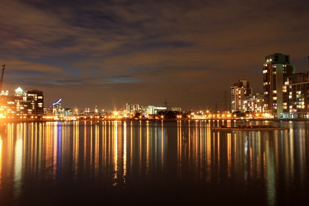 Buildings at night Docklands Stock Photo