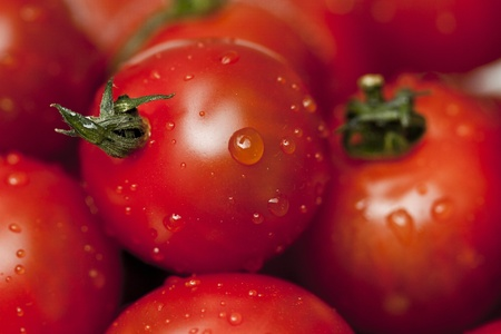 Cherry tomatoes with water drops
