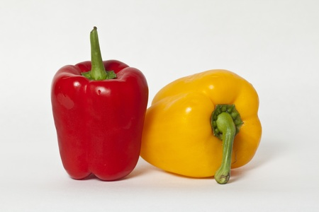 Red bell pepper and yellow bell pepper Stock Photo