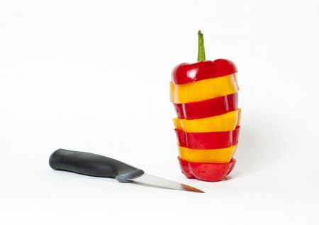 bell pepper cut stacked with knife