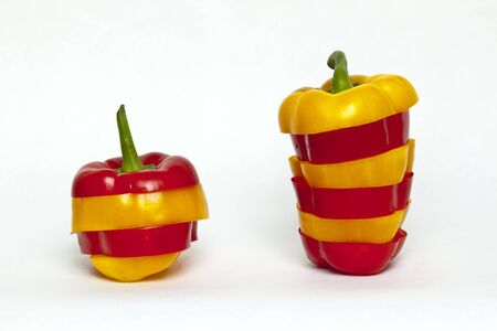 bell pepper cut stacked Two
