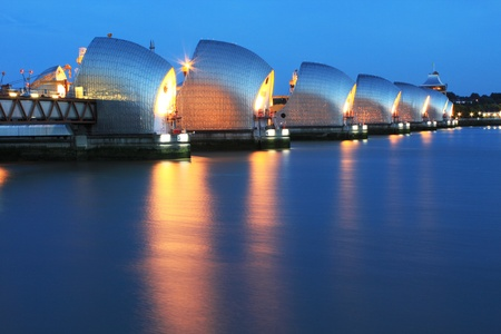 Thames Barrier River Thames at night Stock Photo