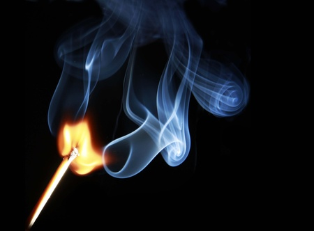 ignited: matchstick lighted, burning match stick