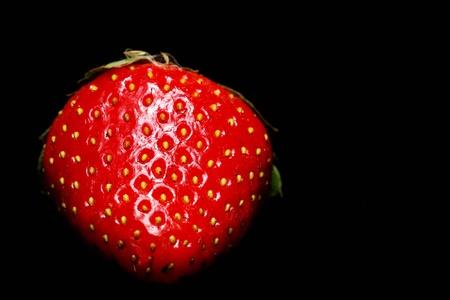 Single Strawberry black background