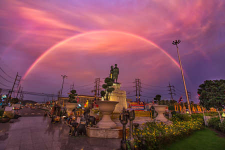 Monument on Twilight Time with Rainbow Phuket .