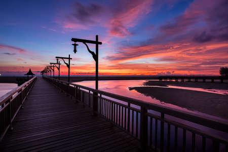 Wooden bridge on twilight time.