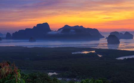 phangnga: Sunrise Phang-Nga bay.