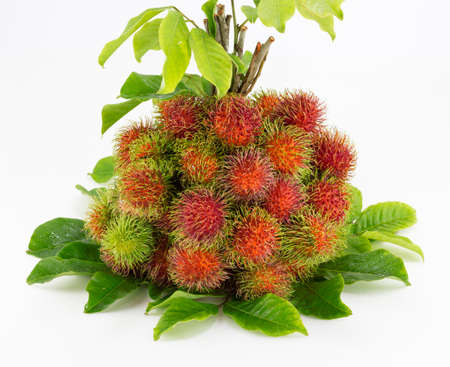 Bunch of rambutan with leaf on white back ground.