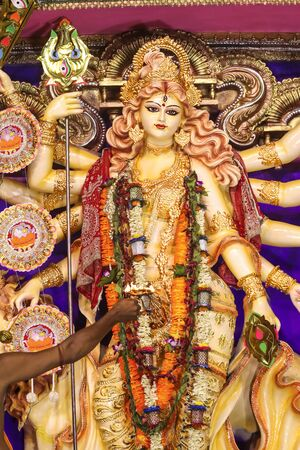 Gorgeous Durga Mata With Ten hands During Dusshera In West Bengal.
