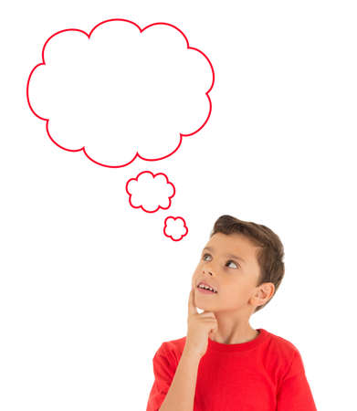 thoughtful: Young Boy looking up and thinking and dreaming with bubbles isolated on white background