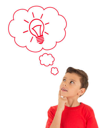 t bulb: Young Boy looking up and thinking with light bulb in bubbles , wearing red t-shirt isolated on white background
