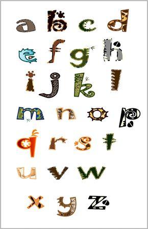 abc calligraphy: animal alphabet