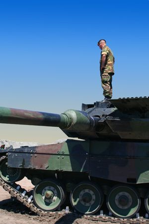 army tank: soldier