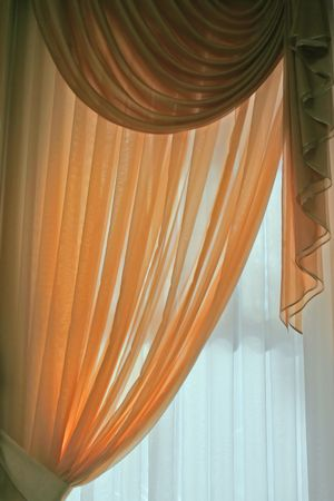 pleat: drape curtains Stock Photo