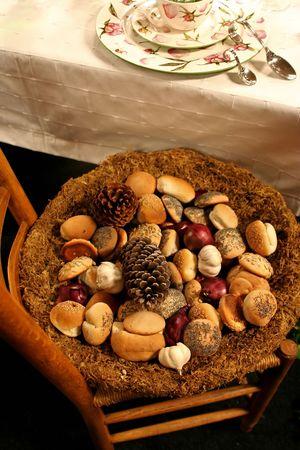 fresh bread in basket for dinner table photo