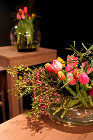spring tulips for decoration interior photo