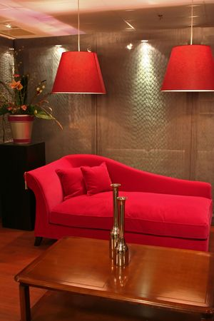 red sofa: modern living with red sofa in interior