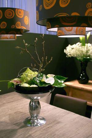chrom: flowers arrangement in wooden interior
