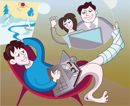 video conference with parents Vector
