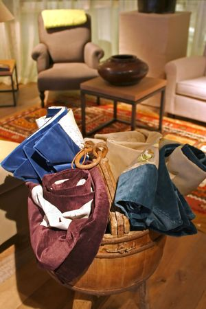 goblins: goblins and textile materials for decoration of interiors Stock Photo