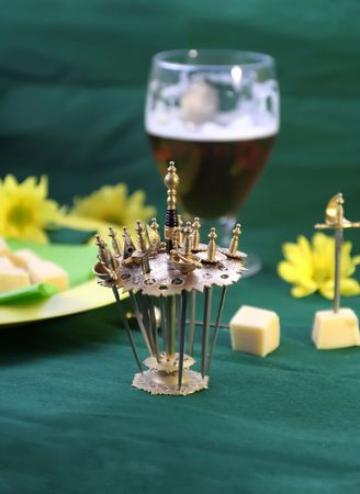 decorative rapiers with cheese and beer Stock Photo - 802408