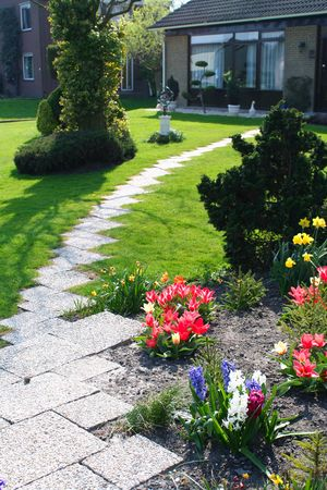garden with flowers and green lawn  photo