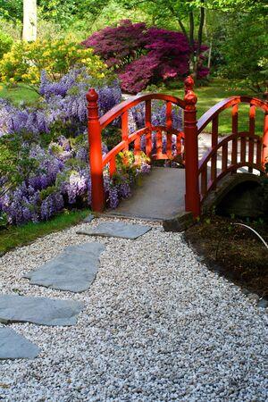 Japoński mostek w ogrodzie (w Hadze) Zdjęcie Seryjne - 917691