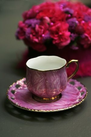 classic tea cup with floral composition photo