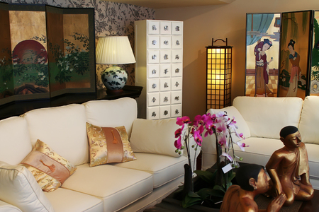luxery chinese  interior in modern style Stock Photo